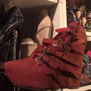 Jeffrey Campbell red wedge heels